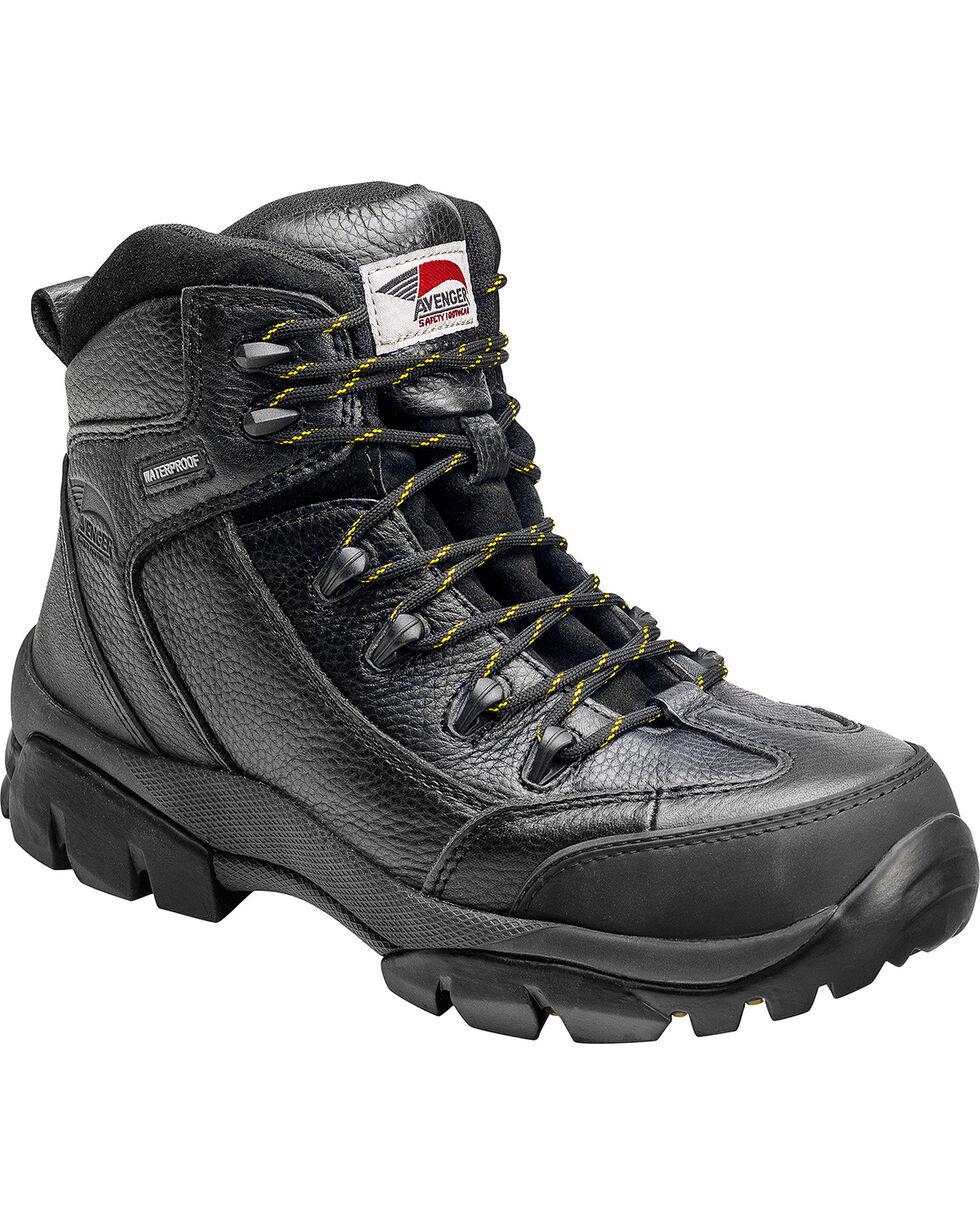 Avenger Men's Waterproof Hiker Work Boots - Composite Toe, Black, hi-res