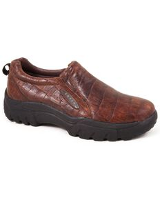 Roper Performance Croc Print Slip-On Shoes - Round Toe, Redwood, hi-res
