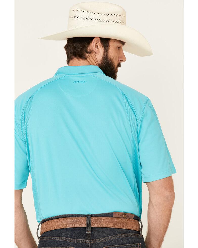 Ariat Men's Bluebird Geo Print AC Short Sleeve Polo Shirt , Turquoise, hi-res
