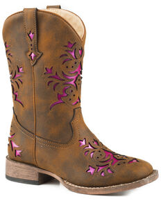 Roper Girls' Lola Brown Metallic Underlay Cowgirl Boots - Square Toe, Brown, hi-res