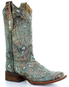 Corral Women's Metallic Bronze Glitter Butterfly Cowgirl Boots - Square Toe, Bronze, hi-res