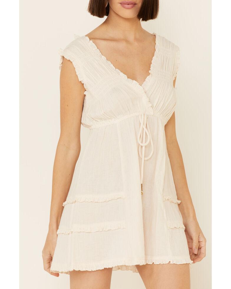 Shyanne Women's Cross Over Ruffle Dress, Off White, hi-res