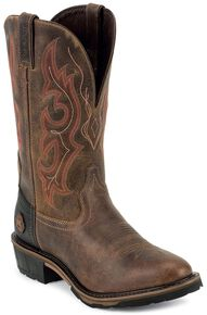 Justin Men's Hybred Cochise Rugged Tan EH Western Work Boots - Soft Toe, Rugged, hi-res