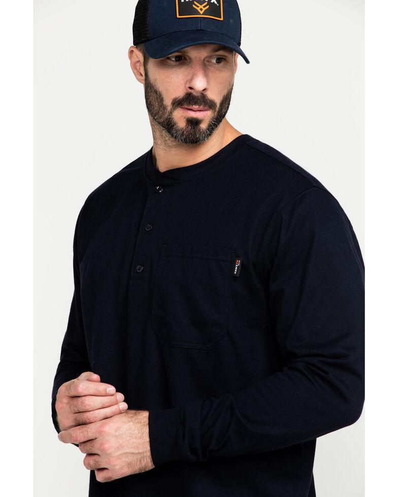 Hawx Men's FR Pocket Henley Long Sleeve Work Shirt - Tall , Navy, hi-res