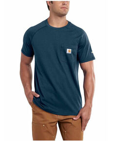 Carhartt Men's Blue Force Cotton Delmont Short Sleeve Work T-Shirt - Big , Blue, hi-res