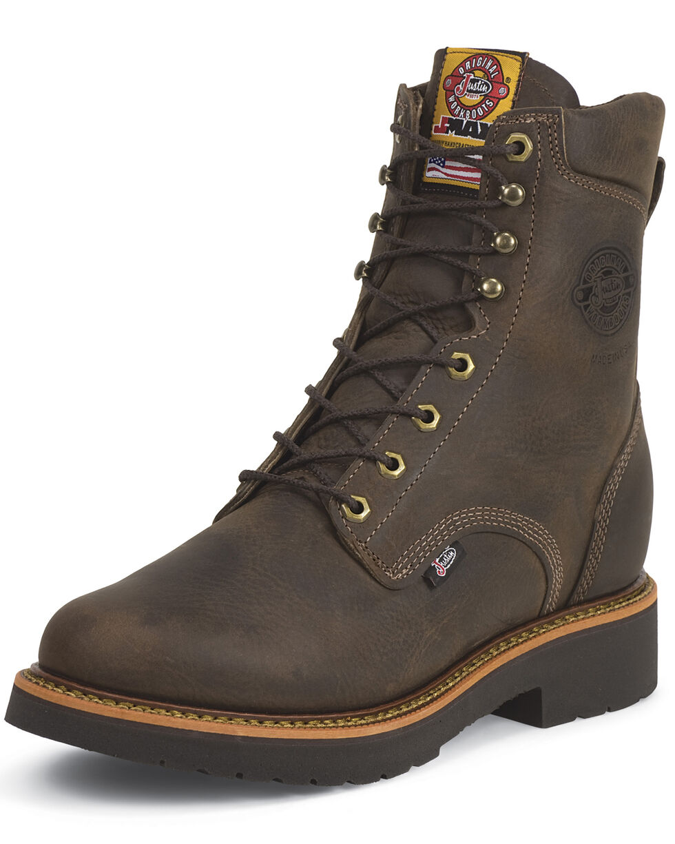 "Justin Men's J-Max 8"" Blueprint Lace-Up EH Work Boots - Soft Toe, Chocolate, hi-res"