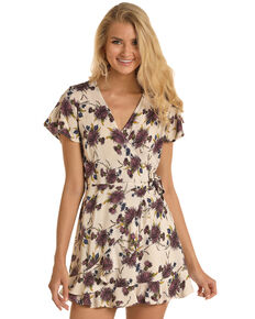 Rock & Roll Denim Women's Faux Wrap Floral Dress, Ivory, hi-res