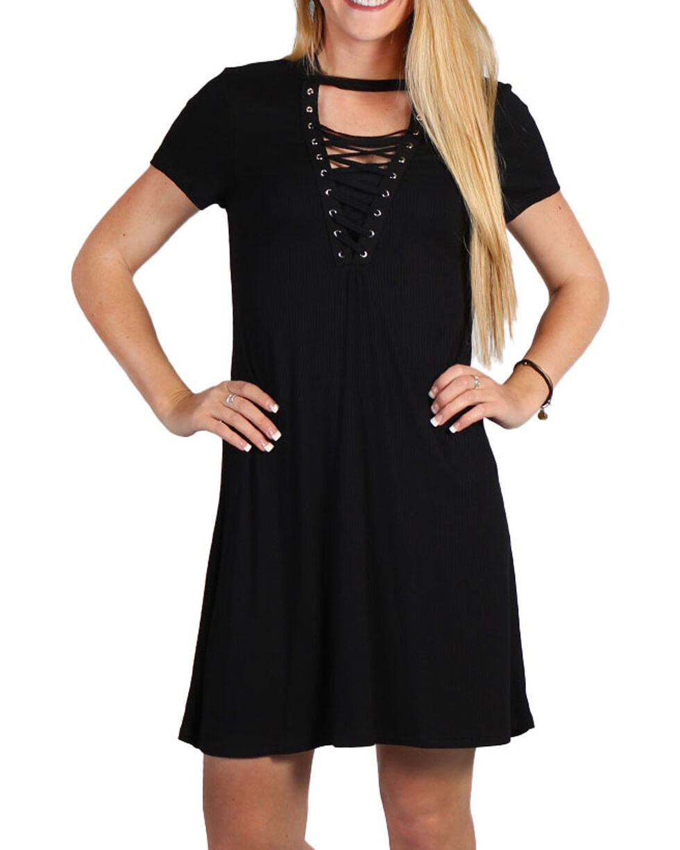 Luna Chix Women's Black Lace-Up Dress, Black, hi-res