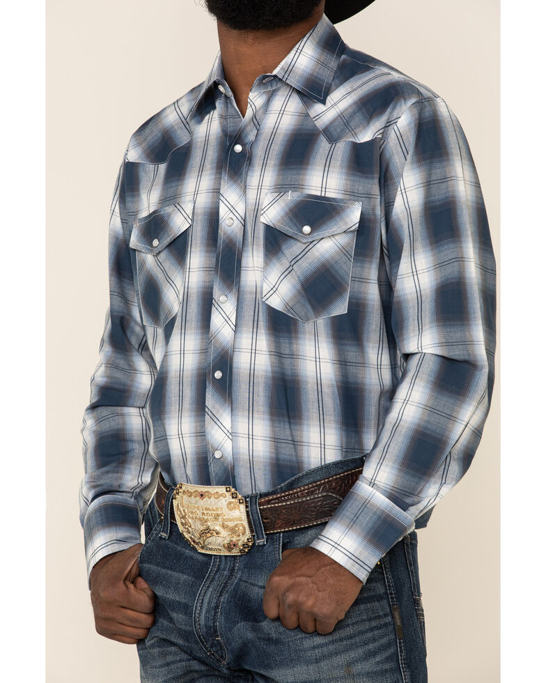 Roper Men's Blue Classic Large Plaid Long Sleeve Western Shirt , Blue, hi-res