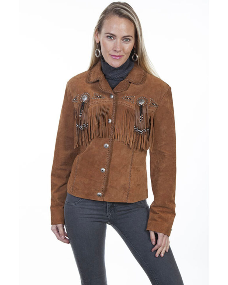 Scully Women's Suede Leather Fringe Jacket - Plus, Brown, hi-res