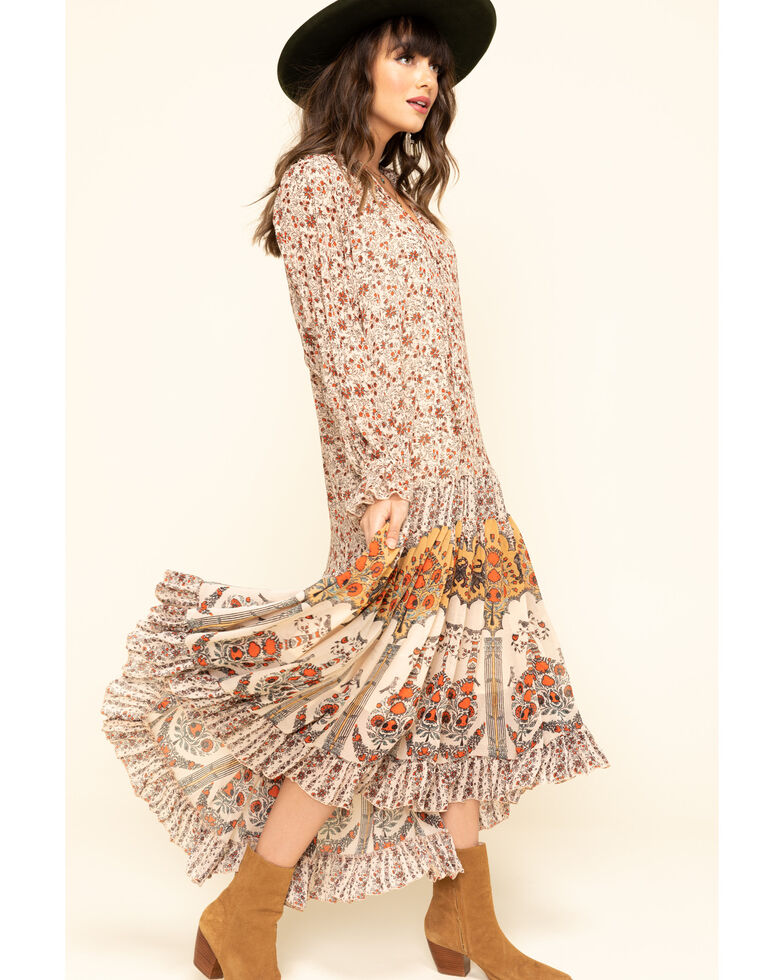 Free People Women's Feeling Groovy Border Maxi Dress , Ivory, hi-res