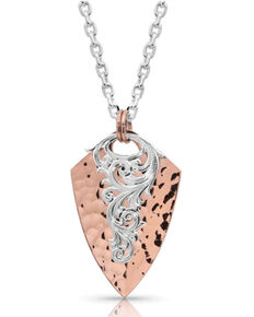 Montana Silversmiths Women's Hammered Arrowhead Necklace, Rose, hi-res