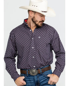 Ariat Men's Wrinkle Free Cleaves Geo Print Long Sleeve Western Shirt - Tall , Grey, hi-res