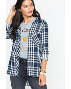 Wrangler Modern Women's Born Ready Fluid Button-Down Shirt, Navy, hi-res