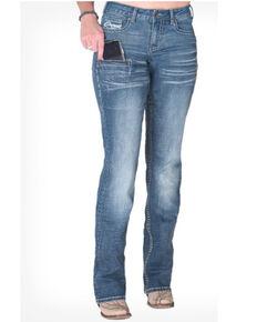 Cowgirl Tuff Women's DFMI Sport Bootcut Jeans , Blue, hi-res