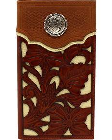 Nocona Men's Floral Overlay Western Wallet , Medium Brown, hi-res