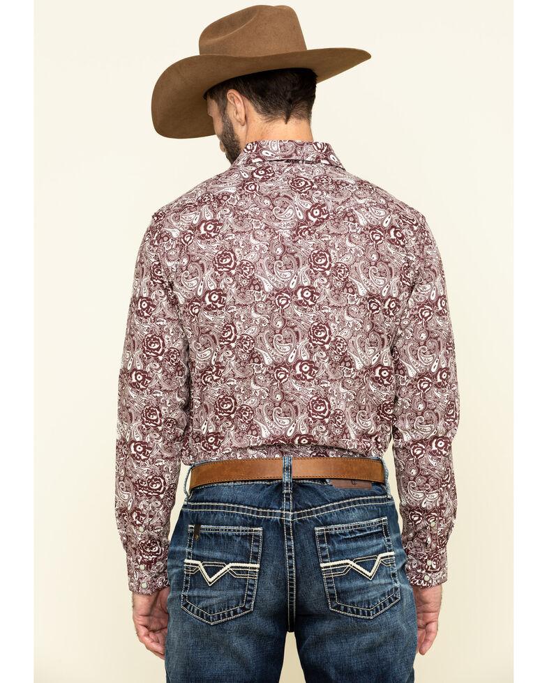 Cody James Men's Amarillo Large Floral Print Long Sleeve Western Shirt - Tall , Maroon, hi-res