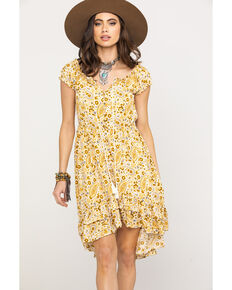 Shyanne Women's Mustard Paisley Patchwork Off Shoulder Dress, Dark Yellow, hi-res