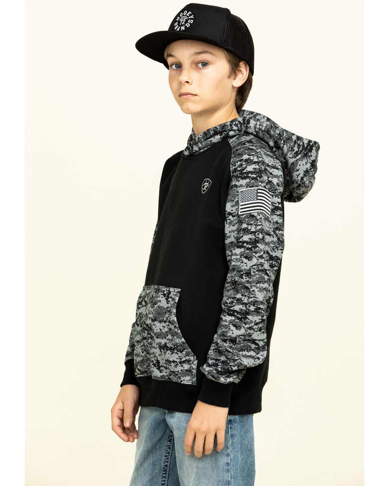 Ariat Boys' Black Digi Camo Patriot Hooded Sweatshirt , Grey, hi-res