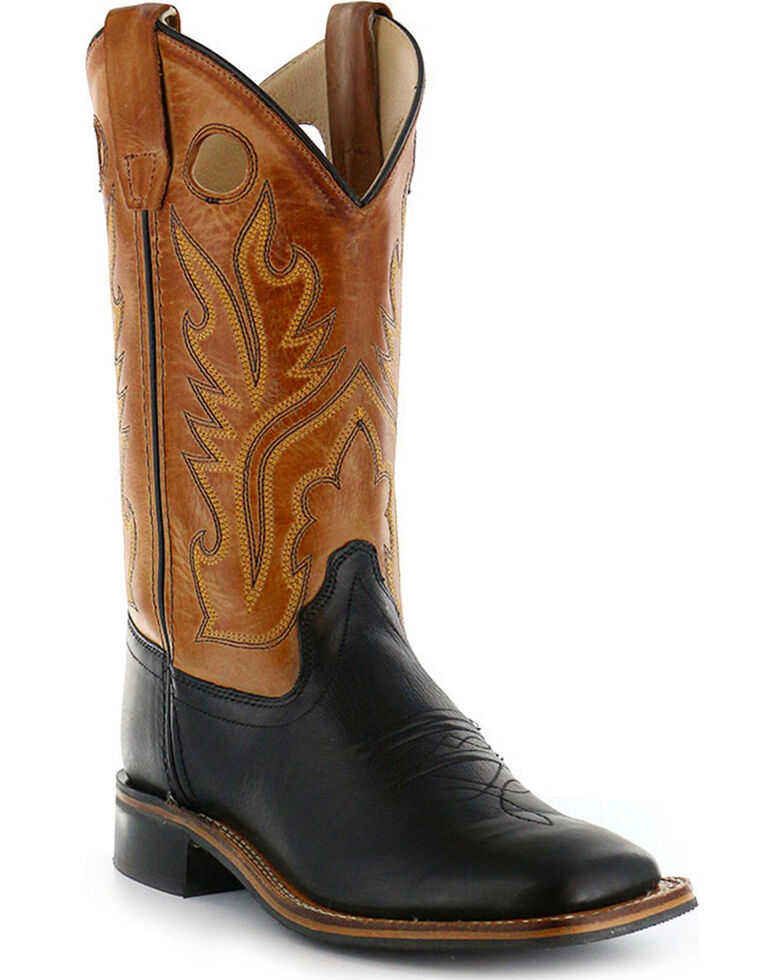 Cody James Boys' Black/Brown Old West Cowboy Boots - Square Toe, Black, hi-res