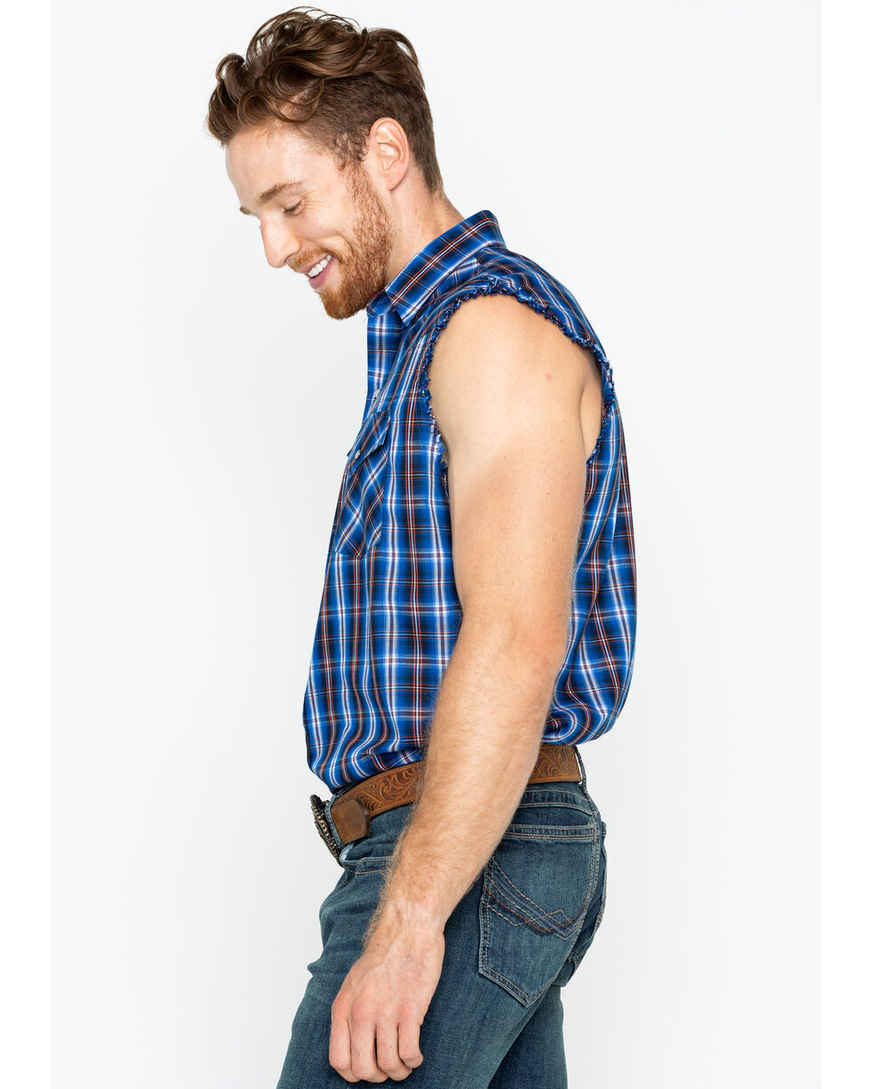 Ely Cattleman Men's Blue Sleeveless Plaid Shirt , Blue, hi-res