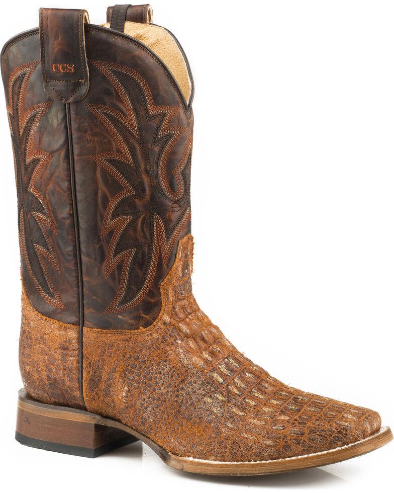 Roper Men's Pierce Embossed Caiman Sidewinder Concealed Carry System Cowboy Boots - Square Toe , Brown, hi-res