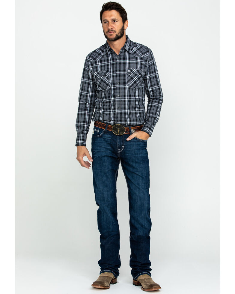 Wrangler Retro Men's Black Med Plaid Long Sleeve Western Shirt , Black, hi-res