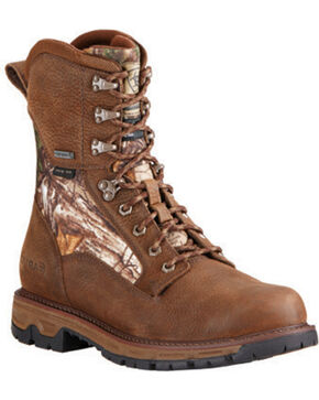 Ariat Men's Insulated Conquest Waterproof Camo Hunting Boots - Round Toe, Brown, hi-res
