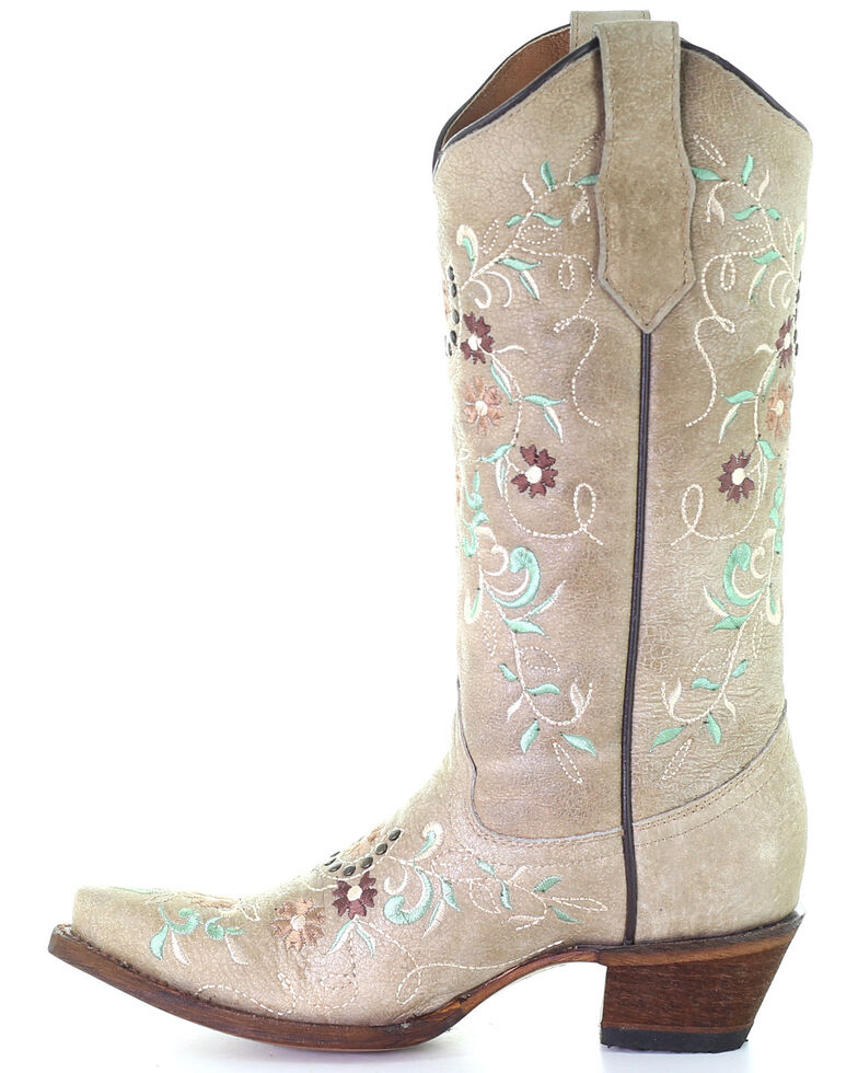 Circle G Women's Sand Flower Embroidery Western Boots - Snip Toe, Sand, hi-res