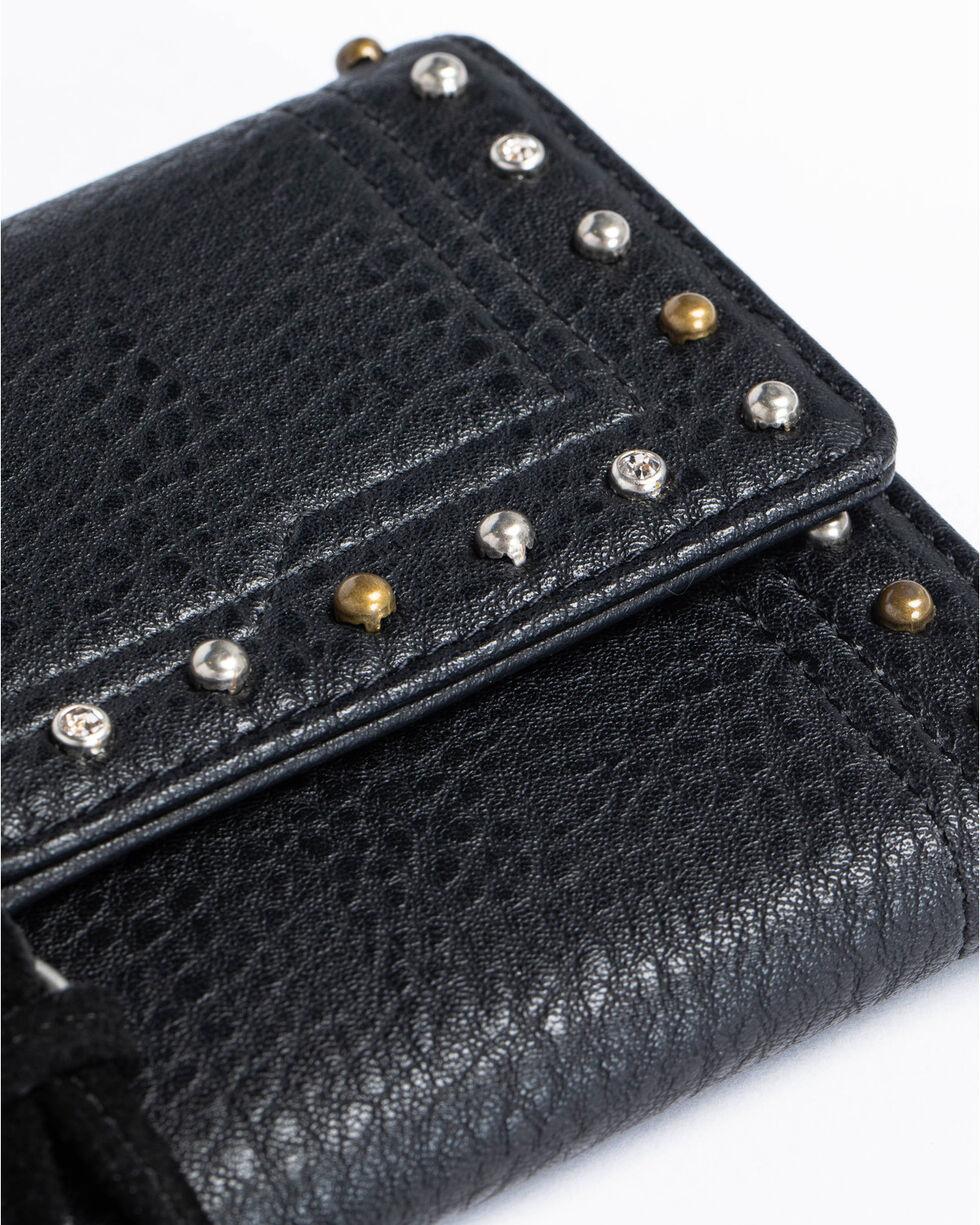 Shyanne Women's Suede Tassel Flap Wallet, Black, hi-res