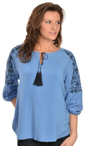 Ariat Women's Lucy Embroidered Top, Blue, hi-res