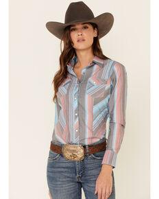 Rock & Roll Denim Women's Multi Serape Striped Long Sleeve Western Shirt , Blue, hi-res