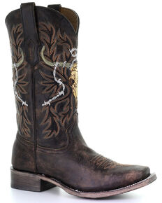 Corral Men's Skull Overlay Western Boots - Square Toe, Brown, hi-res