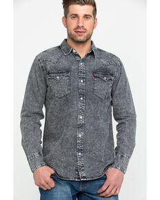 Levi's Men's Denim Hunk Snap Long Sleeve Western Shirt , Light Grey, hi-res