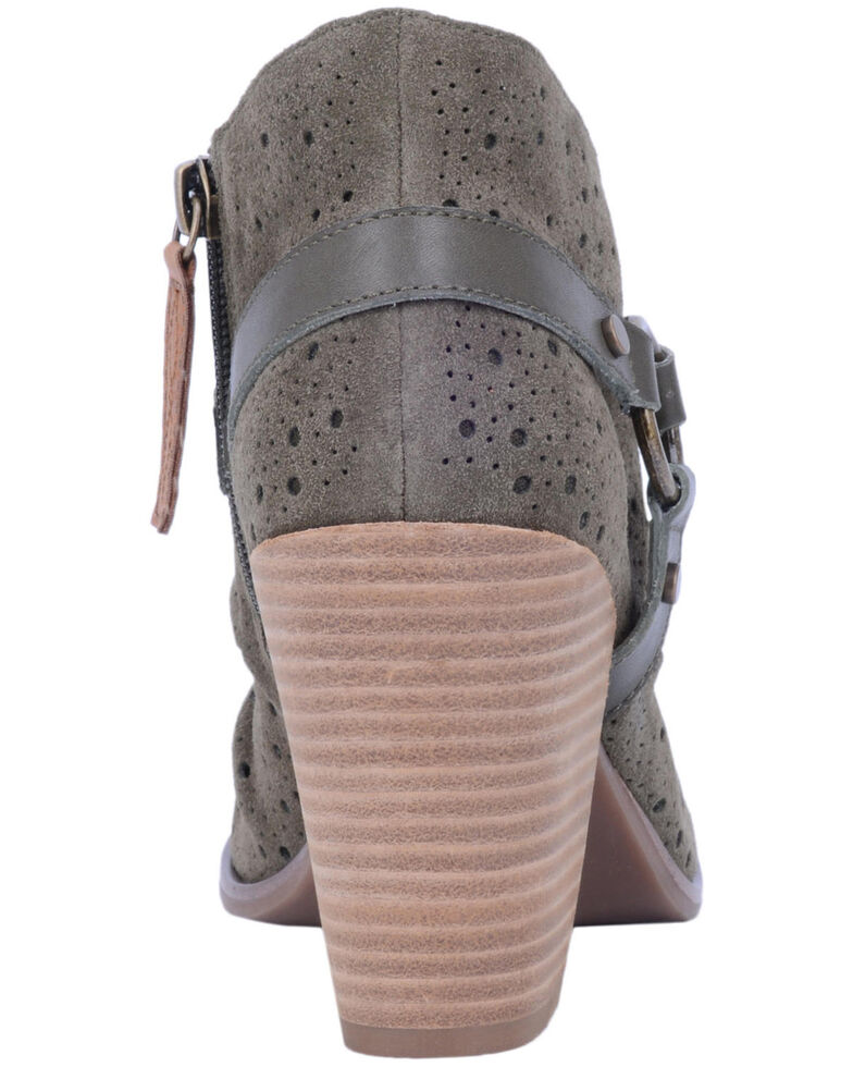 Dingo Women's Olive Spurs Fashion Booties - Peep Toe, Olive, hi-res