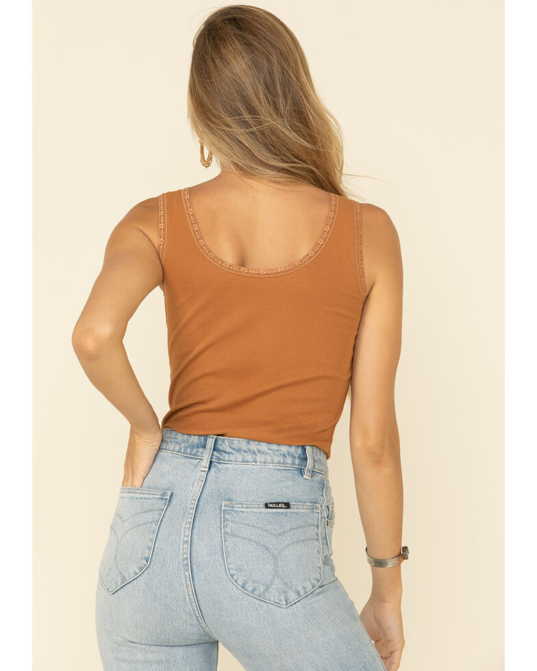 Bandit Women's Cognac Smooth As Tennessee Whiskey Lace Trim Tank Top, Cognac, hi-res