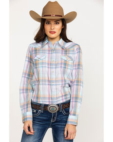 Wrangler Women's Plaid Core Snap Long Sleeve Western Shirt , Orange, hi-res