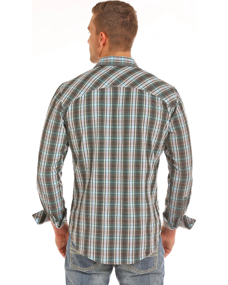 Rock & Roll Denim Men's Grey Crinkle Washed Plaid Long Sleeve Western Shirt, Grey, hi-res