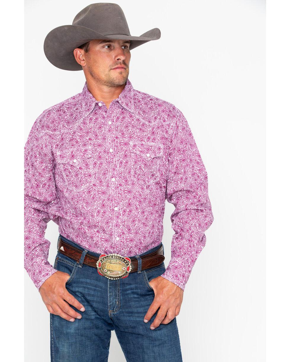 Wrangler 20X Mens' Purple Print Paisley Advanced Comfort Long Sleeve Shirt , Purple, hi-res