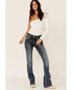 Grace In LA Women's Baroque Medium Wash Bootcut Jeans, Blue, hi-res