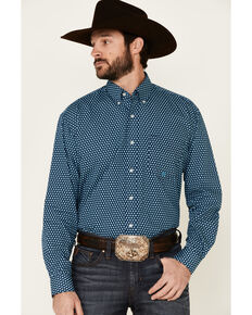 Amarillo Men's Diamond Fluer Foulard Geo Print Long Sleeve Snap Western Shirt , Blue, hi-res