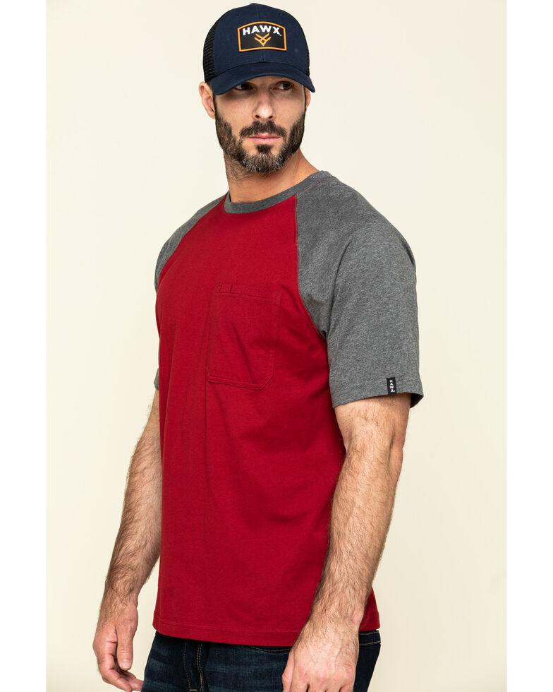 Hawx Men's Red Midland Short Sleeve Baseball Work T-Shirt - Big , Red, hi-res