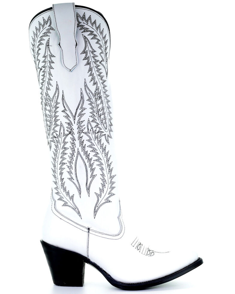 Corral Women's White Embroidery Western Boots - Snip Toe, White, hi-res