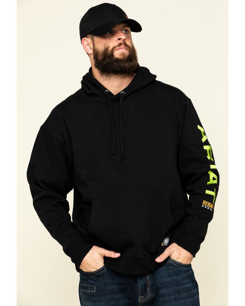 Ariat Men's Black/Lime Rebar Graphic Hooded Work Sweatshirt , Black, hi-res