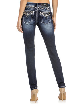 Miss Me Women's Beaded Yoke Skinny Jeans , Indigo, hi-res