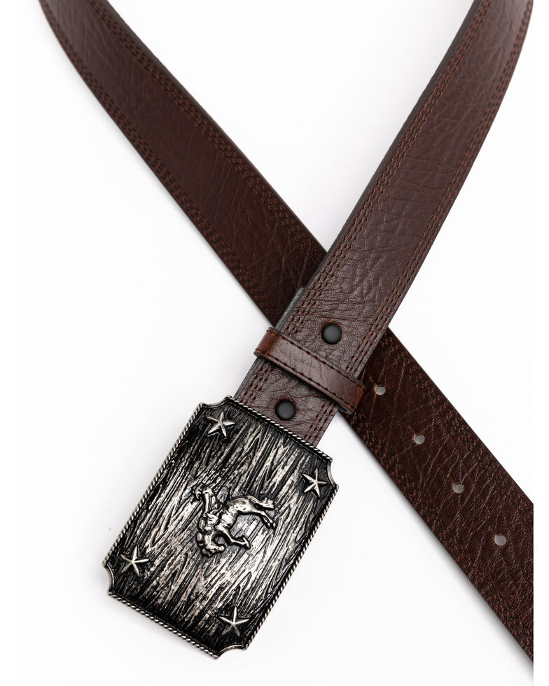 Cody James Men's Iconic Bronc Rider Buckle Belt, Brown, hi-res