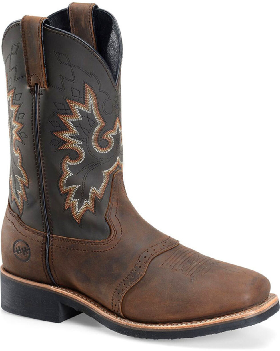 Double H Men's Crazy Horse Western Boots - Square Toe, Brown, hi-res