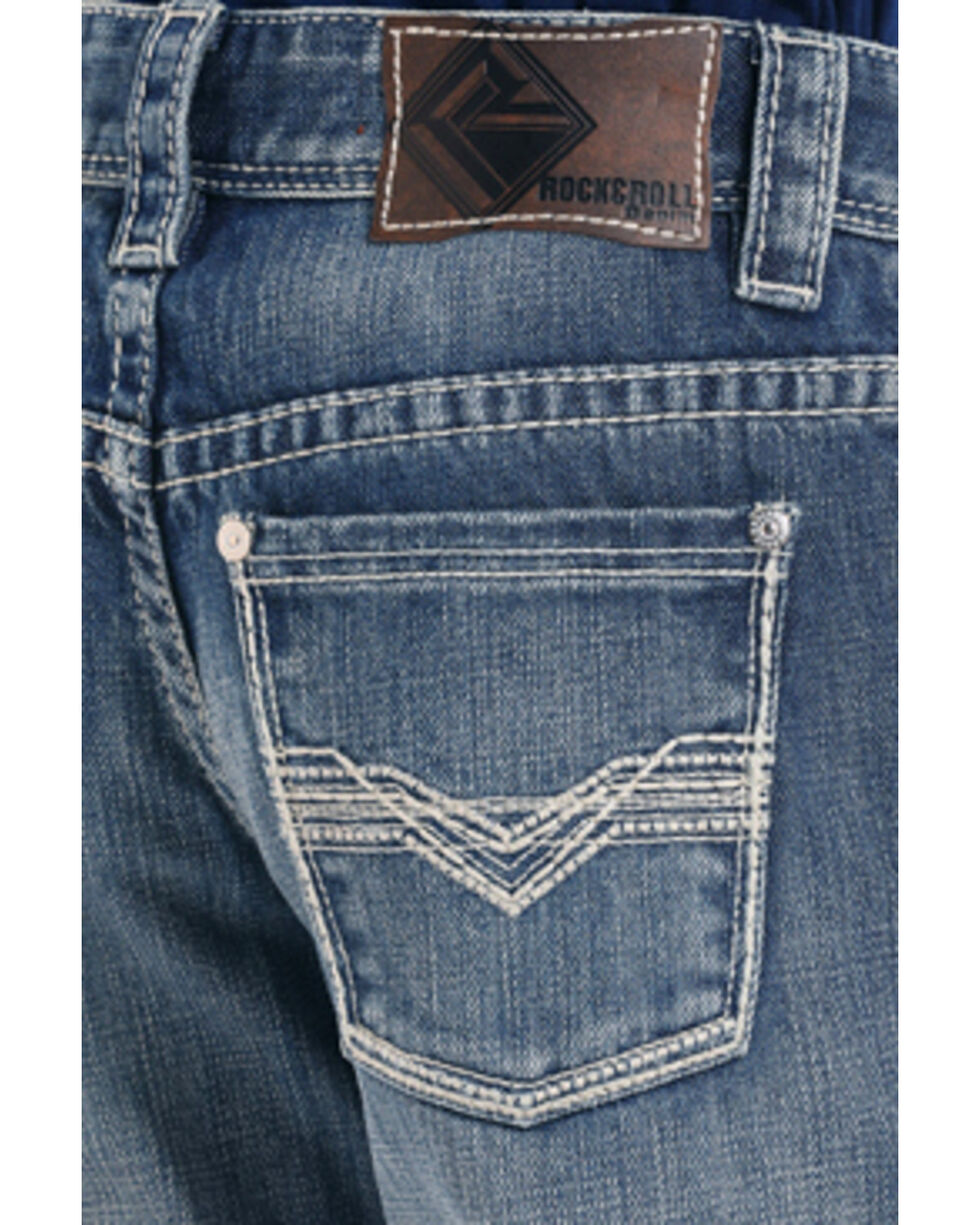 Rock & Roll Cowboy Boys' Zig Zag BB Gun Vintage Wash Boot Jeans, Indigo, hi-res