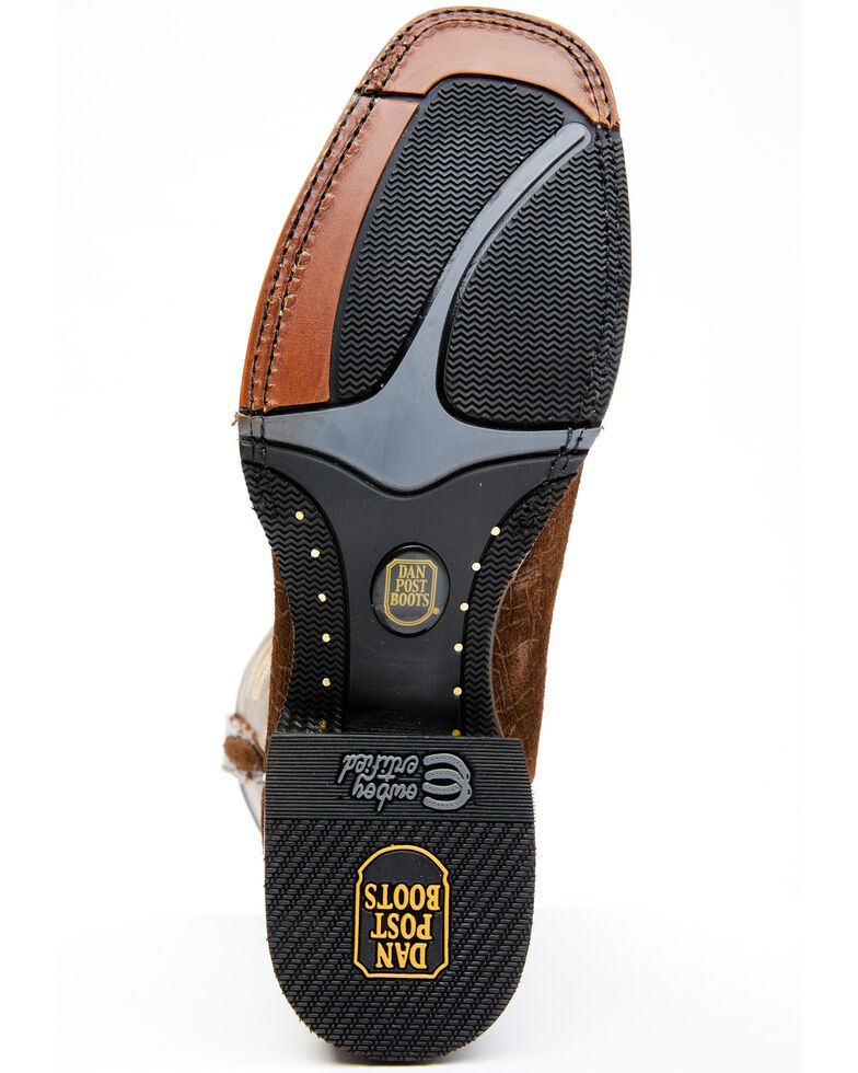 Dan Post Men's Hippo Print Western Boots - Wide Square Toe, Brown, hi-res