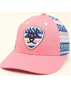 Ariat Girls' Pink Aztec Stripe Logo Embroidered Ball Cap , Pink, hi-res